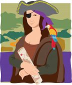 stock photo of mona lisa  - The Mona Lisa dressed as a pirate with a parrot on her shoulder and a treasure map in her hand - JPG