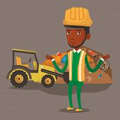 Постер, плакат: Worker of rubbish dump standing with spread arms Man standing on the background of rubbish dump and