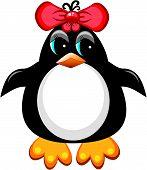 Penguin cartoon bird. Girl.