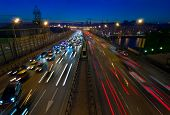 Moscow Traffic At Dusk