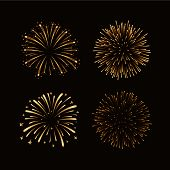 Firework Gold Isolated Set poster