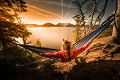 Women Relaxing In Hammock Crater Lake Oregon poster