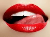 Smiling Young Girl. Beauty Face Closeup. Sexy Lips. Beauty Red Lip Makeup Detail poster
