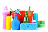 pic of house cleaning  - bucket with cleaning supplies isolated on white background - JPG