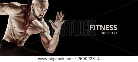 poster of The Fit Man Doing Weight Lifting In Gym On Black Background. The Fitness, Training, Sport, Workout,
