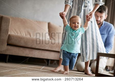 young mother and father at