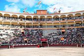 MADRID - OCTOBER 17: Bullfighter  fights for a sold out crowd at the Plaza del Toros de Las Ventas,