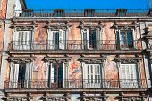 Painting adorning the section of the Plaza Mayor known as Casa Panaderia, Madrid. Spain