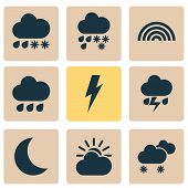 Climate Icons Set With Rainbow, Sunlight, Weather And Other Rainy Elements. Isolated  Illustration C poster