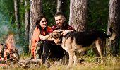 Couple Pat German Shepherd Dog Near Bonfire, Nature Background. poster