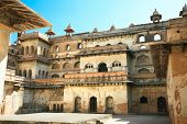 Inside the walls of Raj Mahal in Orchha, Imposing complex of 17th century palaces in Orchha, Madhya