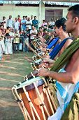 COCHIN, INDIA - FEBRUARY 03 : Drummers  and another musician on the annual festival in Siva Temple,