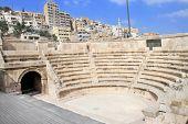 Small roman amphitheater in Amman, Al-Qasr site, Jordan.