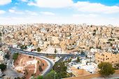 Panoramic view of Amnan from the top of citadel , Jordan