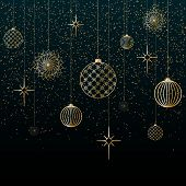 Christmas Background Gold Balls Toys Stars Snowflakes Glitter On A Blue Background Festive Backgroun poster