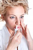 picture of breather  - Woman  use an  bronchial inhale - JPG