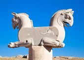 Two-headed Griffin statue in an ancient city of Persepolis, Iran