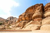 Petra panoramic view - Nabataeans capital city (Al Khazneh). Tombs made by digging a holes in the rocks during  Roman Empire period.  Jordan.