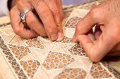 Proces of making traditional Persian mosaic technics khatam. Shiraz, Iran