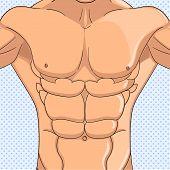 Bodybuilder, Anatomy Of The Abdominal Muscles Man. Object Pop Art Background. Raster Illustration. I poster
