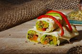 Healthy Lunch Snack. Stack Of Mexican Street Food Fajita Tortilla Wraps With  Fresh Vegetables. poster