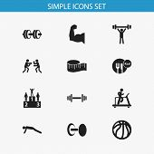 Set Of 12 Editable Lifestyle Icons. Includes Symbols Such As Weightlifting, Measure Tape, Podium And poster