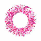 Round Frame Of Colorful Hearts Isolated On White Background. Confetti Of Hearts. Love Concept. Vecto poster