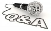 Q&A Questions and Answers Session Get Info Microphone Word 3d Illustration poster