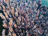 Aerial View Of Hong Kong Downtown. Financial District And Business Centers In Smart City In Asia. To poster