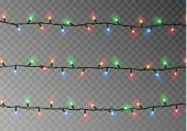 Christmas Color Lights String. Transparent Effect Decoration Isolated On Dark Background. Realistic  poster