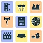 Beverages Icons Set With Liquor, Fish Menu, Beer With Burger And Other Poster Elements. Isolated  Il poster