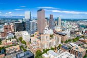 Aerial Drone View In Denver , Colorado , Downtown Skyline Cityscape When Old Meets New. Modern Skysc poster