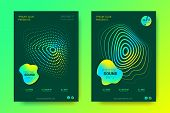 Sound Wave Poster Of Electronic Music Event. Abstract Background With Gradient Circle And Lines. Dis poster