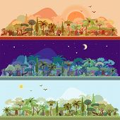 Vector Collection Of Tropical Rainforest Landscapes With Palms And Other Tropical Trees In Different poster