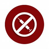 No Drugs Syringe, Prohibited Sign Icon In Badge Style. One Of Decline Collection Icon Can Be Used Fo poster