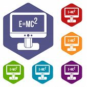 Monitor With Einstein Formula Icons Set Rhombus In Different Colors Isolated On White Background poster