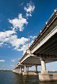 picture of dnepropetrovsk  - Bridge on the River Dnieper in Ukraine - JPG