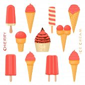 Vector Illustration For Natural Cherry Ice Cream On Stick, In Paper Bowls, Wafer Cones. Ice Cream Co poster