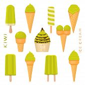 Vector Illustration For Natural Kiwi Ice Cream On Stick, In Paper Bowls, Wafer Cones. Ice Cream Cons poster