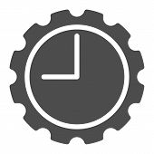 Watch With Gear Solid Icon. Clock With Cogwheel Vector Illustration Isolated On White. Mechanical Wa poster