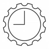 Watch With Gear Thin Line Icon. Clock With Cogwheel Vector Illustration Isolated On White. Mechanica poster