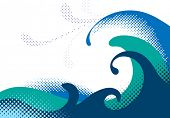 Halftone sea waves. Vector illustration