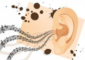 Grunge human ear with musical notes. Vector illustration