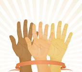 Votação unânime (mãos para cima). Ilustração vetorial