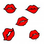 picture of femenine  - five french style french lips or kisses in black and red colors - JPG