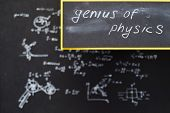 Genius Of Physics. Exact Sciences And Academic Research. Blurred Formula Written On Chalkboard. poster