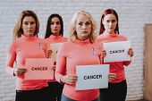Health And Cancer. Lady Support People With Cancer. Model And Photosession In Studio. Style In Studi poster