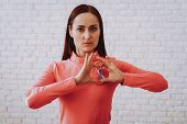 Woman In Pink Blouse Heart With Disease People Who With Cancer. Strong Girl Sign For A Illness Peopl poster
