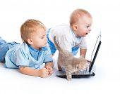 Little children, kitten, and laptop. Isolated on white background