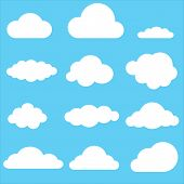 Set Of Clouds. Clouds Icon On Blue Background. Weather Symbol. Cartoon Clouds Sign. Flat Style. Spee poster